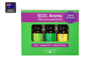 ECO. Aroma Clarity & Focus Essential Oil Trio (Lime, Peppermint, Clarity & Focus Blend)