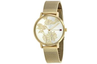 Tommy Hilfiger Women's Pippa Watch (Gold Dial, Mesh Bracelet)