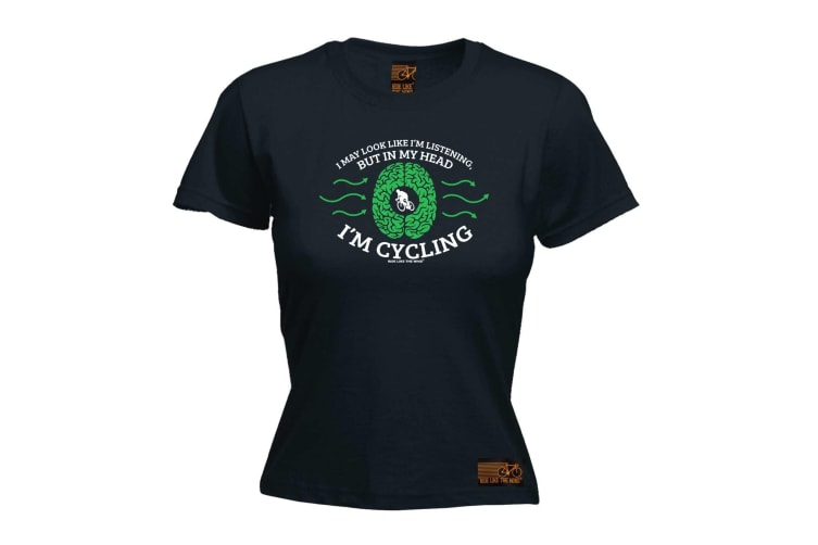 Ride Like The Wind Cycling Tee - I May Look Im Listening - (Large Black Womens T Shirt)
