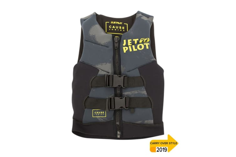JetPilot The Cause Front Entry Kids Neo Vest - Char/Black - 8 - 10