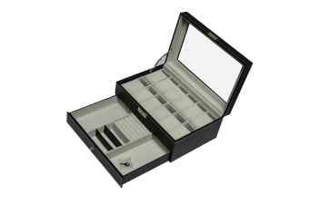 12 Grids Watch Display Case Leather jewellery Storage Box Organiser Lock Key