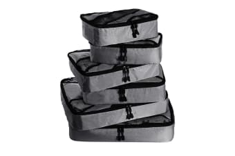 6 Pcs Travel Cubes Storage Toiletry Bag Clothes Luggage Organizer Packing Bags Grey