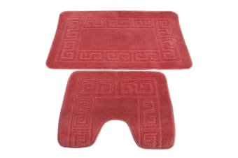 2 Piece Greek Key Pattern Bath Mat And Pedestal Mat Set (Burgundy) (One Size)