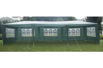 3x9m Wedding Outdoor Gazebo Marquee Tent Canopy Green