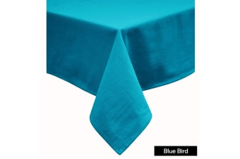 Cotton Blend Table Cloth 180cm Round - BLUE BIRD