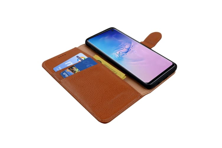 For Samsung Galaxy S10 PLUS Case  Brown Cowhide Genuine Leather Wallet Cover