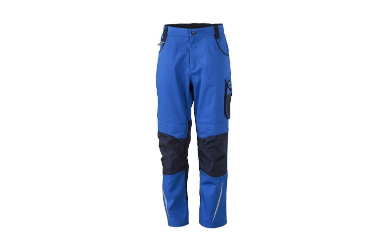 James and Nicholson Mens Workwear Pants (Royal Blue/Navy) (38L)