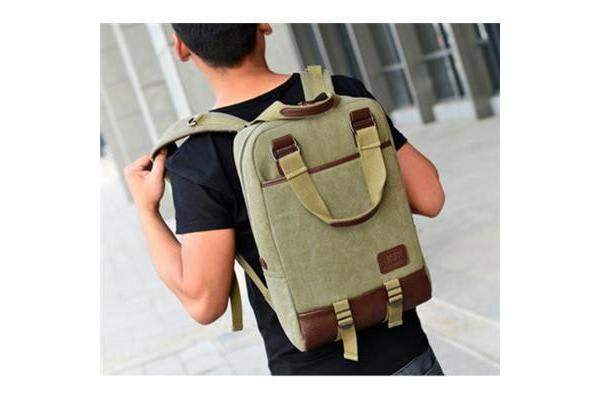 """Colour Pack Canvas Series 15.6"""" Notebook Laptop School travel Canvas Backpack (Military Green) 26cm"""