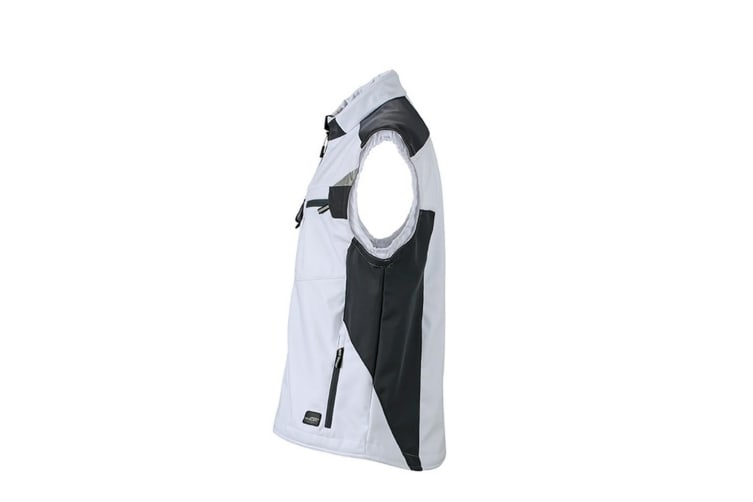 James and Nicholson Unisex Workwear Softshell Vest (White/Carbon Grey) (XL)