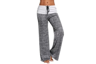 Stitching Yoga Quick-Drying Sports Trousers Leg Pants Grey L