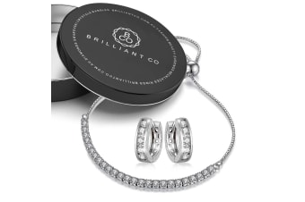 2pc Brilliance Tennis Bracelet & Earrings Set-White Gold/Clear