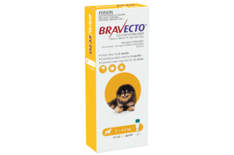 Bravecto SPOT-ON for X-Small Dogs 2-4.5kg - Yellow (6 Months)