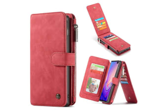 For Samsung Galaxy S10 Case  Red Detachable Leather Wallet Cover 14 Card Slots