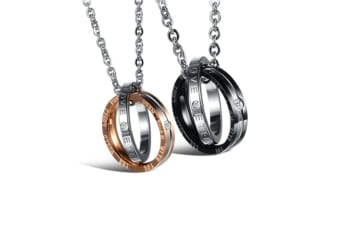 His & Hers Matching Set Titanium Stainless Steel Couples Pendant Necklace Y000051
