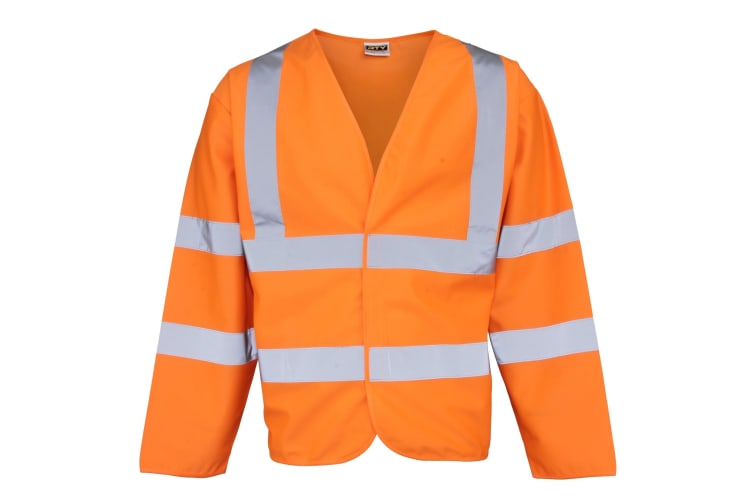 RTY High Visibility Unisex High Vis Motorway Coat (Pack of 2) (Fluorescent Orange) (3XL)
