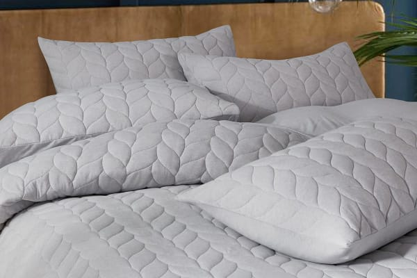 Gioia Casa Quilted Jersey Quilt Cover (Super King/Light Grey)