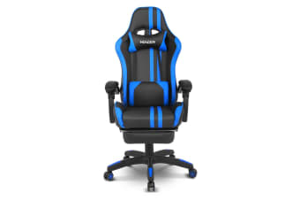 Blue & Black Game Chair Office Chair with Footrest