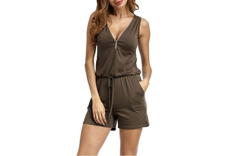 Women V Neck Zipper Front Romper With Pockets   S