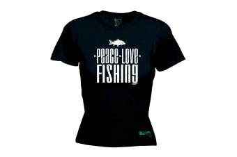 Drowning Worms Fishing Tee - Peace Love - (Small Black Womens T Shirt)
