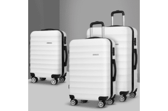 3pc Luggage Set Suitcase Sets TSA Hard Case Lightweight White