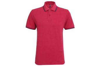 Asquith & Fox Mens Classic Fit Tipped Polo Shirt (Red Heather/Navy) (M)