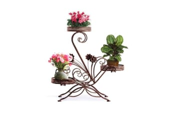 Metal Outdoor Indoor Pot Plant Stand Garden Decor Flower Rack BRONZE (UM1175)