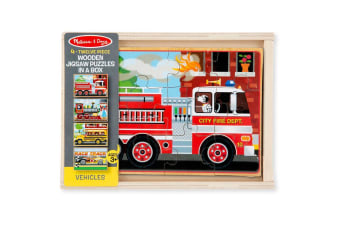 Melissa and Doug Vehicle Puzzle in a Box - 4 x 12 Piece Puzzles
