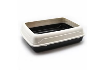 Cat Litter Tray with Rim Pet Kitten toilet Training Hooded House Pan Portable FD