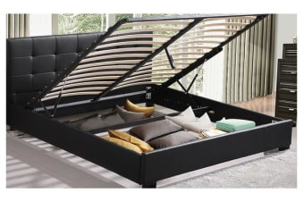 Deluxe Queen Gas Lift Storage PU Leather Bed Frame