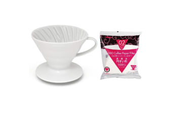 Hario V60 - 02 Ceramic Coffee Dripper With 100 Filter Papers Includes A Free Measuring Spoon