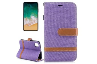 For iPhone XS X Wallet Case Styled Denim Leather Durable Protective Cover Purple