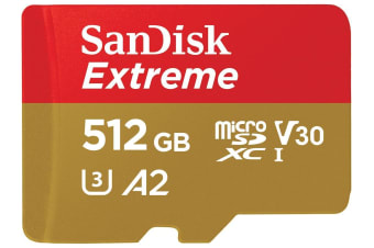 SANDISK SDSQXA1-512G-GN6MA MICRO EXTREME  A2 V30 UHS-I/U3 160R/90W SDXC CARD WITH ADAPTER