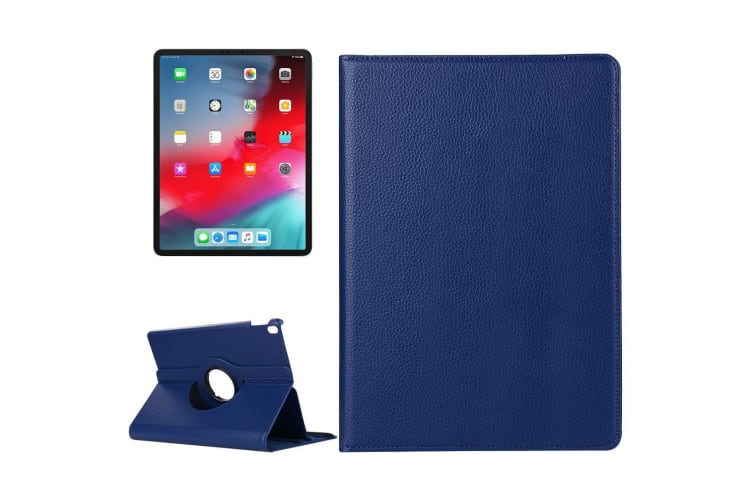 For iPad Pro 12.9 Inch (2018) Case Lychee Texture PU Leather Folio Cover Navy