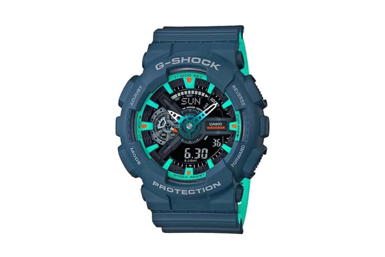 Casio G-Shock Analog Digital Watch with Resin Band - Blue/Teal (GA110CC-2A)