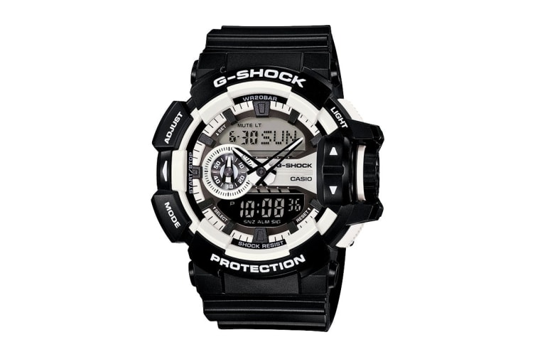 Casio G-Shock Analog Watch with Resin Band - Black/White (GA400-1A)
