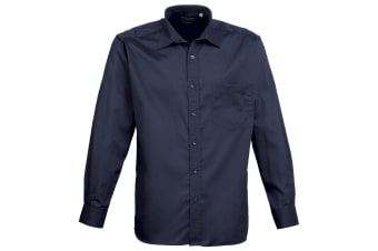 Premier Mens Long Sleeve Formal Plain Work Poplin Shirt (Navy) (15)
