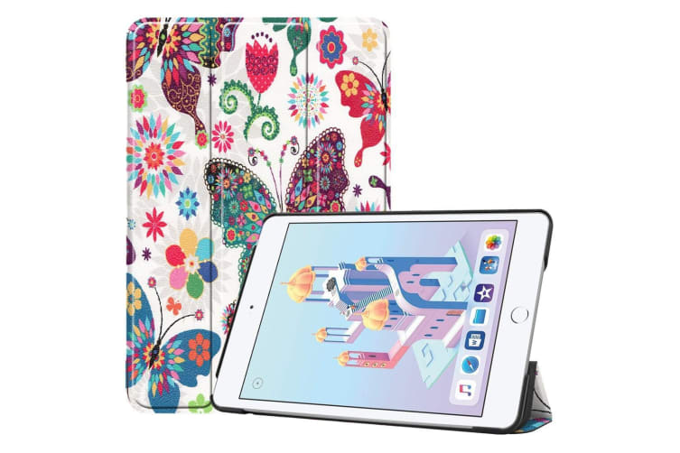For iPad mini 5 2019 Case Karst Texture Folio PU Leather Smart Cover Butterfly