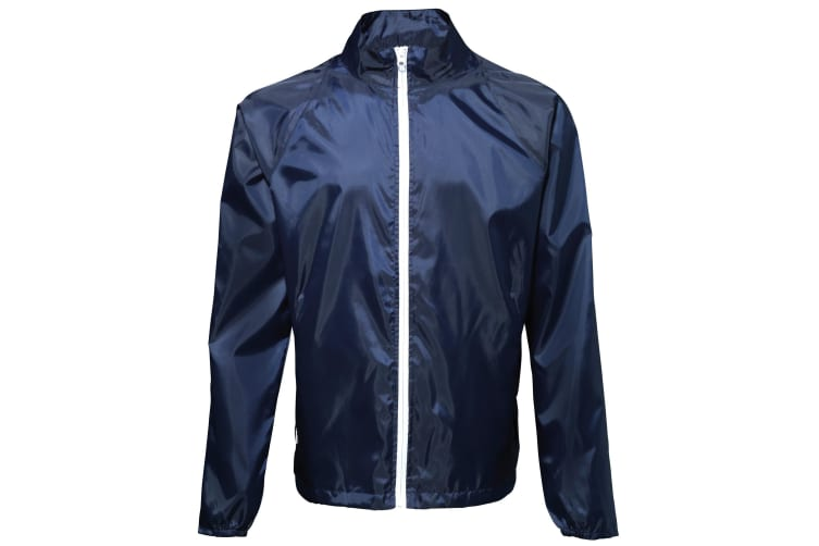 2786 Mens Contrast Lightweight Windcheater Shower Proof Jacket (Pack of 2) (Navy/ White) (L)
