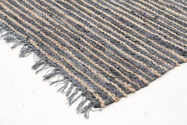 Bondi Leather and Jute Rug Grey 300x80cm