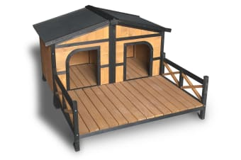 Double Pet Dog Wooden House 2 Door | FREIGHT