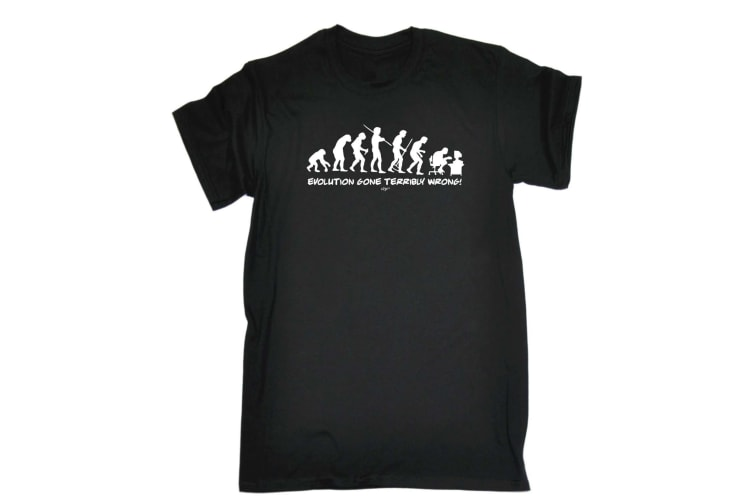 123T Funny Tee - Evo Gone Terribly Wrong - (5X-Large Black Mens T Shirt)