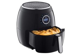 5L Electric Digital Air Fryer Cooker 1800W w/Rack/Basket Less Oil Cooking Black