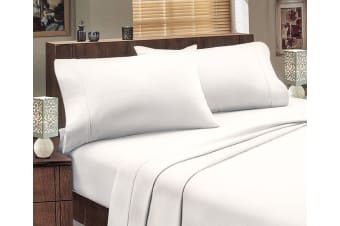 ALL SIZES Egyptian Cotton Sheet Set Flannelette 175GSM Luxury Comfortable - Mega King - White