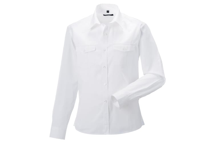 Russell Collection Mens Long / Roll-Sleeve Work Shirt (White) (XL)