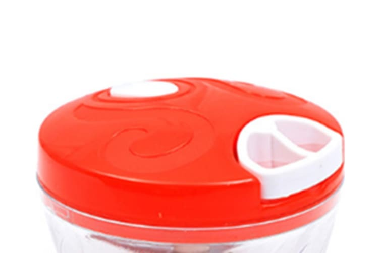 Select Mall Manual Hand-held Food Chopper for Vegetable Fruits Nuts Onions Chopper Hand Pull Mincer Blender Mixer Food Processor-Red