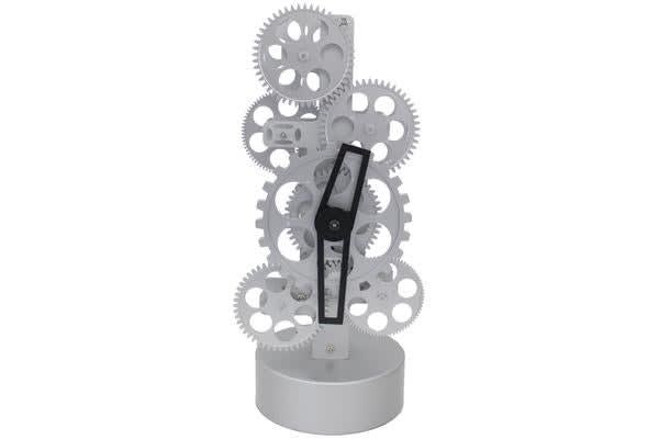 Mechanical Moving Gear Clock Analog Dial Silver Battery Power