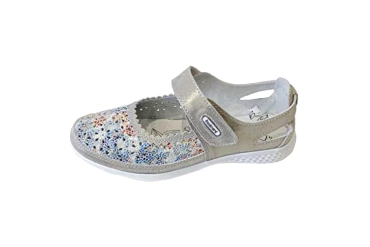 Boulevard Womens/Ladies Touch Fastening EEE Fit Suede Shoes (Grey/Floral) (6 UK)