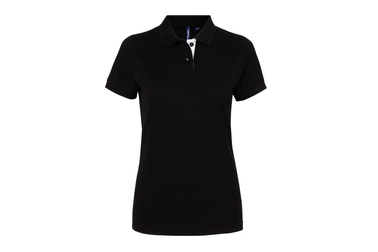 Asquith & Fox Womens/Ladies Short Sleeve Contrast Polo Shirt (Black/ White) (S)