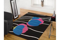 Poppies Modern Rug Black