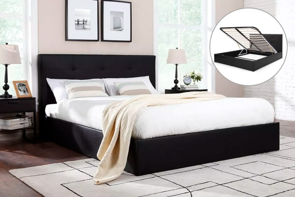 Ovela Bed Frame - Florence Gas Lift Collection (Black, Double)